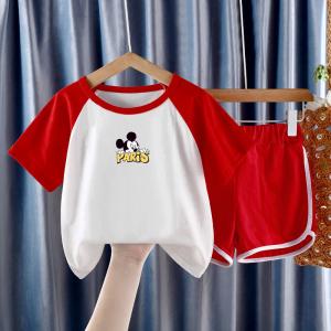 CX6837# 最便宜服装批发 新款短袖套装男童女童纯棉卡通印花