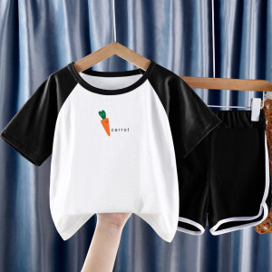 CX6834# 最便宜服装批发 夏季儿童套装男女童短袖短裤
