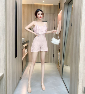 YF54697# 荷叶边连体裤女夏季新款洋气小个子显高显瘦吊带连身裤 服装批发女装直播货源