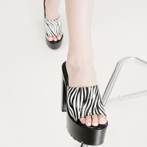 X-25666# 超高跟粗跟防水台条纹一字拖鞋34-40码 鞋子批发女鞋货源