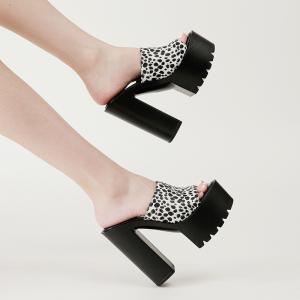 X-25667# 粗跟防水台一字豹纹超高跟拖鞋34-40码 鞋子批发女鞋货源