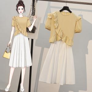 YF57928# 大码女装夏装新款胖妹妹气质减龄遮肚显瘦半身裙炸街套装 服装批发女装直播货源