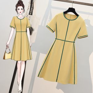 YF57929# 夏季新款大码女装遮肚减龄时髦炸街连衣裙胖妹妹显瘦裙子 服装批发女装直播货源
