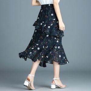 YF54571# 碎花雪纺半身裙子女夏季新款薄款垂感高腰显瘦a字鱼尾中长 服装批发女装直播货源