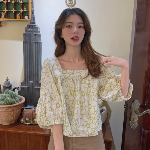 YF63120# 印花图案短款上衣方领七分袖夏季新款气质百搭套头女衬衫