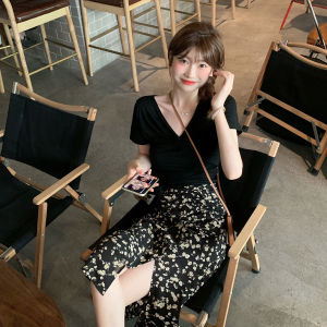 YF67395# V领T时尚套装女新款夏季洋气减龄高腰显瘦半身裙子两件套潮