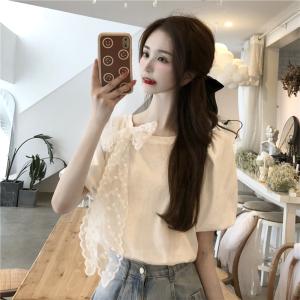 YF63121# ins法式设计感蝴蝶结白色上衣女新款宽松小众泡泡袖t恤潮