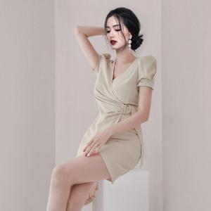 YF59098# 夏季新款V领时尚不规则连衣裙系带裙 服装批发女装直播货源