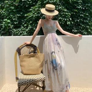 YF55700# 法式重工吊带裙女夏季高级感连衣裙新款设计感小众气质长裙子 服装批发女装直播货源