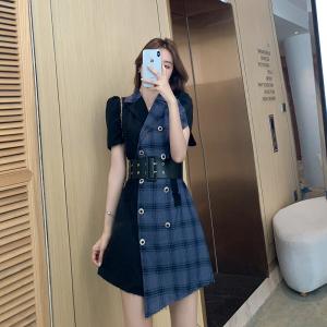 YF56120# 西装裙新款拼接泡泡袖收腰夏季西装连衣裙设计感格子裙子 服装批发女装直播货源
