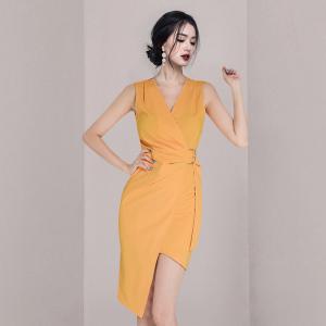 YF57719# 新款韩版V领时尚不规则连衣裙系带裙 服装批发女装直播货源