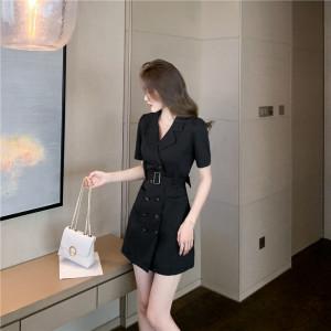 YF56591# 新款法式高端气质修身复古裙子赫本风收腰显瘦西装连衣裙女夏 服装批发女装直播货源