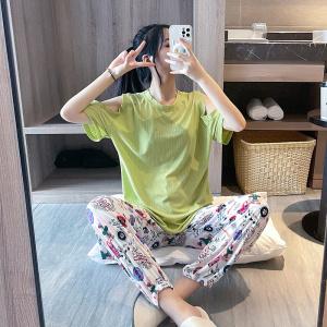 YF57057# 新款夏短袖露肩长裤螺纹冰丝睡衣女套装 服装批发女装直播货源
