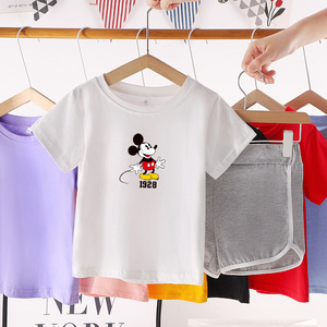 CX6831# 最便宜服装批发 夏装新款短袖套装儿童纯棉上衣短裤休闲两件套潮