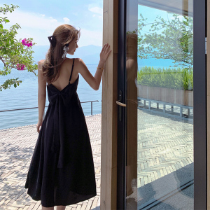 YF70745# 新款海边度假V领吊带连衣裙后背蝴蝶结 服装批发女装直播货源