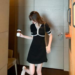 YF56593# 夏季法式v领撞色拼接赫本风连衣裙女显瘦气质小黑裙 服装批发女装直播货源