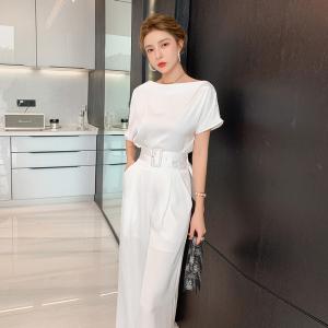 YF59097# 新款时尚不规则性感露肩白色上衣阔腿裤两件套套装 服装批发女装直播货源
