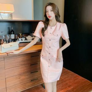 YF63066# 田娇baby原创设计新款粉色小香显瘦连衣裙温柔高贵气质高级