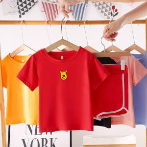 CX6830# 最便宜服装批发 男童女童夏装套装新款儿童休闲衣服中大童夏季短袖两件套