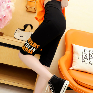 YF56936# 官图设计感运动风夏季字母印花五分运动裤女 服装批发女装直播货源