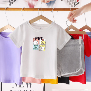 CX6829# 最便宜服装批发 新款童装男女童夏装短袖套装潮中大儿童两件套韩版运动