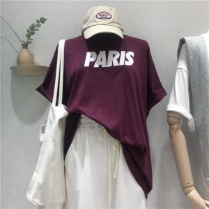 YF64211# 韩国东大门夏季新款洋气设计感字母短袖T恤宽松圆领上衣 服装批发女装直播货源