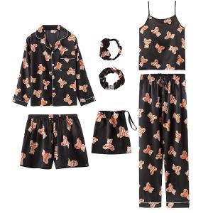 YF57070# 睡衣春夏秋长袖长裤冰丝七件套吊带短裤家居服 服装批发女装直播货源