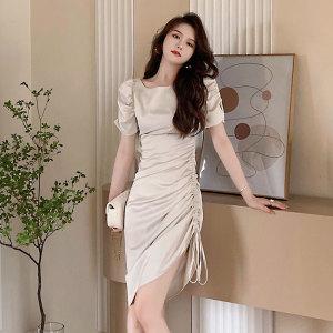 YF56831# 法式温柔抽绳褶皱绑带设计感连衣裙夏季女收腰中长裙子 服装批发女装直播货源