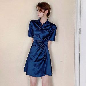YF56829# 夏季新款法国小众衬衫裙桔梗裙气质显瘦收腰褶皱裙子女 服装批发女装直播货源