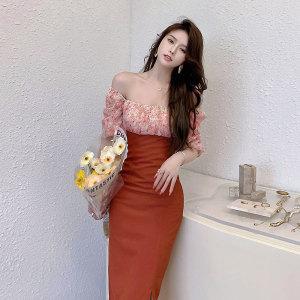 YF56833# 复古泡泡袖拼接碎花连衣裙女夏季新款方领气质显瘦裙子 服装批发女装直播货源