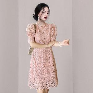 YF57721# 礼服感设计镂空风新款夏装小连衣裙宫廷袖洋装泡泡女短款修身 服装批发女装直播货源