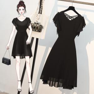 YF57930# 大码女装夏季新款法式赫本风胖妹妹显瘦减龄雪纺连衣裙 服装批发女装直播货源