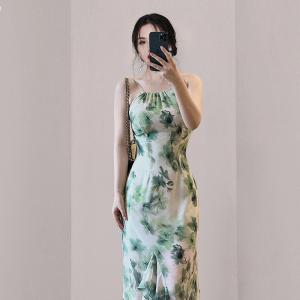YF57324# 新款复古优雅气质修身荷叶边吊带女人味连衣裙