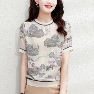 YF58169# 冰丝上衣女短袖复古印花小衫夏季新款气质螺纹半袖气质感T恤 服装批发女装直播货源