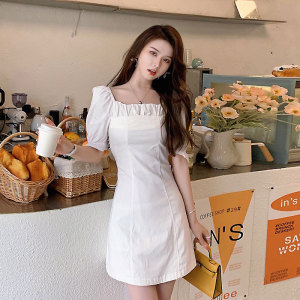 YF56835# 法式白色方领连衣裙女夏收腰显瘦气质温柔风褶皱短裙子 服装批发女装直播货源