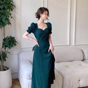 YF58413# 绿色连衣裙女夏新款泡泡袖方领赫本风法式复古开叉裙 服装批发女装直播货源