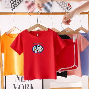 CX6825# 最便宜服装批发 夏季宝宝短袖套装纯棉小孩婴儿衣服小童儿童夏装1男童短裤女童3岁
