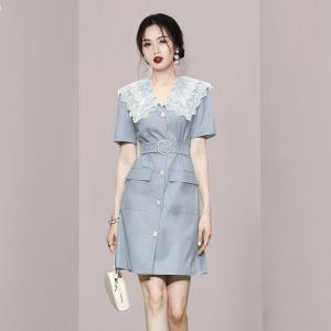 YF57722# 新款夏装女装气质工装风蕾丝领收腰A字裙短袖显瘦连衣裙裙子 服装批发女装直播货源