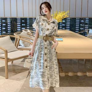 YF68706# 轻熟风气质优雅中长裙子新款字母印花爆款连衣裙女夏