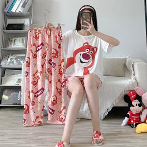 YF57074# 睡衣女韩版可爱家居服休闲薄款春夏季短袖长裤短裤三件套 服装批发女装直播货源