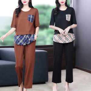 YF57314# 夏季新款年轻洋气休闲运动冰丝针织时尚大码拼接两件套装 服装批发女装直播货源