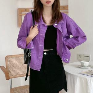YF70981# 新款紫色牛仔...