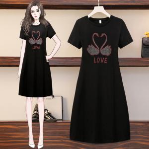 YF57043# 夏季气质连衣裙潮女士重工艺短袖大码长T裙子 服装批发女装直播货源