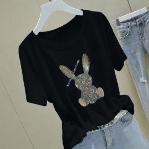 CX6479# 最便宜服装批发 竹节棉镶钻气质短袖T恤女夏季女学生兔子打底衫上衣