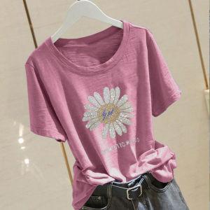 CX6480# 最便宜服装批发 竹节棉镶钻气质短袖T恤女夏季女学生邹菊打底衫上衣