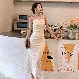 YF58407# 浮雕法式泡泡袖连衣裙夏季新款小香风高级感小众吊带裙 服装批发女装直播货源