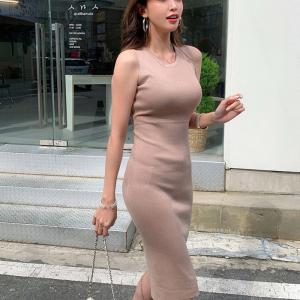 YF66819# 韩国东大门夏季新款气质女装修身显身材包臀裙针织背心连衣裙
