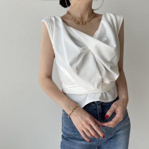 YF57498# 复古重工交叉绑绳无袖衬衫 服装批发女装直播货源