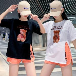 YF57701# ~大码女装纯棉印花T恤+印花短裤两件套胖mm藏肉显瘦休闲套装 服装批发女装直播货源