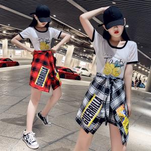 YF57702# 格子不规则套装裙子女夏季韩版时尚显瘦气质学生两件套潮 服装批发女装直播货源
